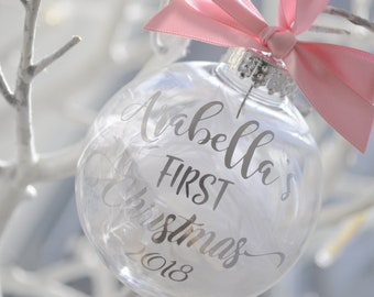 Personalised Baby's First Christmas Bauble Gold Pink Ribbon