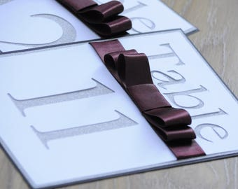 Black & Burgundy Cut Out Glitter Table Number