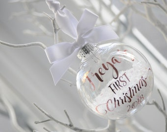 Snow Filled Personalised  First Christmas Bauble Rose Gold