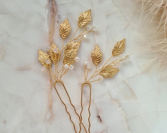Featured listing image: Vintage and Delicate Leaves & Crystals Bridal Hair Pins | Bridesmaid Hair Pins | Gold Leaf Bridal Headpiece | Wedding Hair Accessory