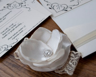 Ivory CreamWedding Invitation with 3D Flower & Lace Detailing