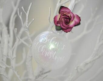 Floral Fuchsia Iridescent First Christmas Personalised Keepsake/Christmas Bauble/Christmas Gift