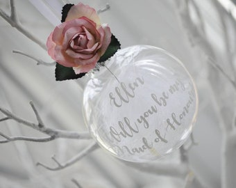 Floral Will You Be My Bridesmaid/ Maid of Honour / Flower Girl  Personalised Christmas Bauble