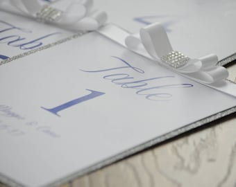 Silver Glitter Bow Navy Table Numbers