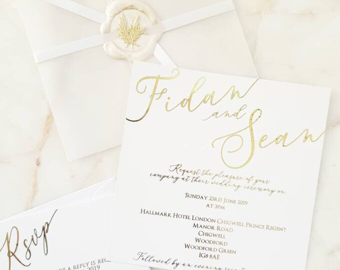 Featured listing image: Simple Vellum Calligraphy Gold Foil Wax & Seal Wedding Invitations