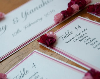 Pink Layer Card Table Plan with Paper Roses  - To Fit A3 Frame Self Assemble