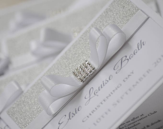 Featured listing image: Silver Glitter Bow Christening Invitation