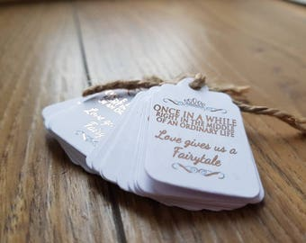 10x Rose Gold Foil Mini Once in a While Favour/Wedding Tags