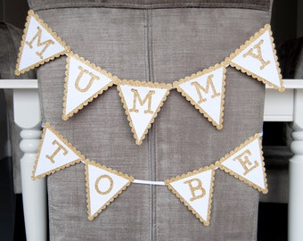 Gold Scalloped Mummy To Be Bunting Baby Shower/ Mother to Be