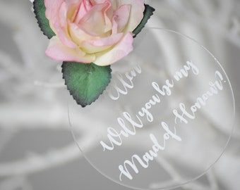 Floral Will You Be My Maid of Honour Personalised Clear Keepsake/Christmas Bauble