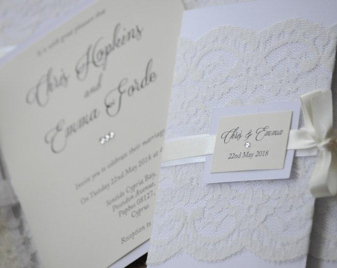 Featured listing image: White & Ivory Lace Wedding Invitation