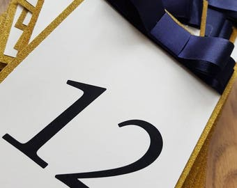 Gold Glitter Bow Table Numbers
