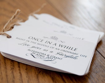 10x Personalised Once in A While Wedding Favour Tags/Gift Tags