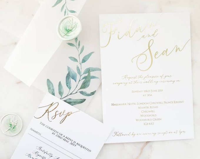 Featured listing image: Botanical Vellum Calligraphy Gold Foil Marble White Green Wax & Seal Wedding Invitations