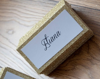 10x Personalised Glitter Sparkle Table Names
