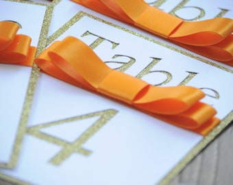 Gold Glitter Orange Cut Out Table Number