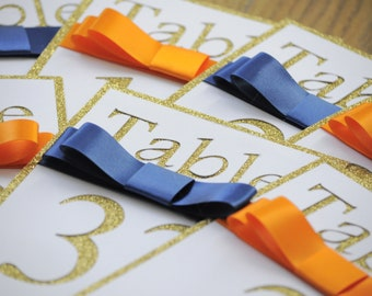Gold Glitter Navy & Orange Cut Out Table Number