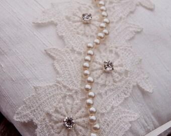 Handmade Dupioni Silk Wedding Pillow with Applique Lace