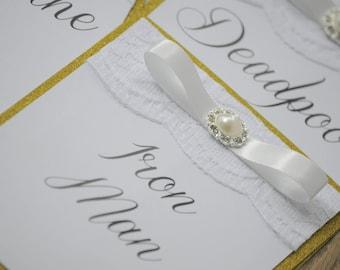 Gold Glitter & Vintage Embellishment Table Number Names