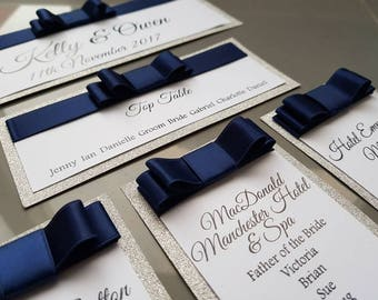 Sliver Glitter Navy Bow Table Plan - To Fit A3 Frame Self Assemble