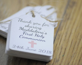 10x Mini Christening Thank You Tags Favour/First Holy Communion