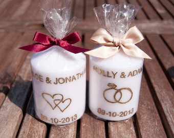 Personalised  Engraved Candle with Bow Wedding Favours