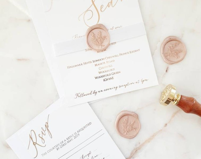 Featured listing image: Simple Rose Gold Foil Calligraphy Blush Wax & Seal Wedding Invitations