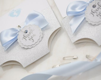 Silver Foil Glitter Thank You Baby Shower Nappy/Diaper Card Blank Card