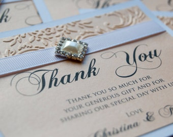 Embossed Peach Thank You Card