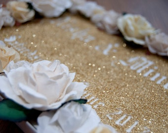 Gold Floral Glitter Cut Out Guestbook