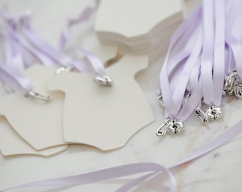 10x Baby Shower Baby-Grow Tags/Wishing Tree Tags/Favour
