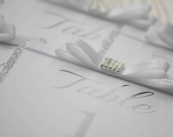 Silver Glitter Bow Table Numbers