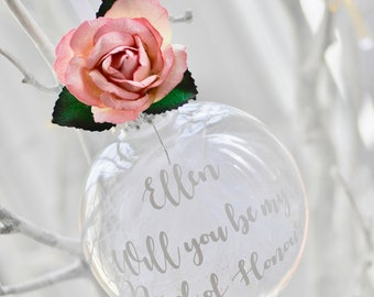 Floral Will You Be My Bridesmaid Personalised Christmas Bauble / Maid of Honour / Flower Girl