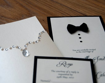 Bride & Groom Tie and Embellishment Wedding Invitation with Initials