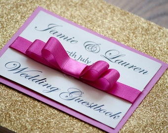 Fuchsia & Gold Glitter Bow Simple Guestbook