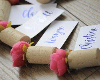 Floral Corkscrew Foiled Place Settings/Name Cards Pink/Navy