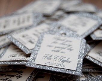 10x Silver Glitter Thank You Favour Tags/Gift Tags