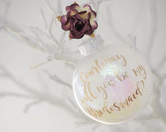 Floral Burgundy Iridescent Will You Be My Bridesmaid Personalised Keepsake/Christmas Bauble/Christmas Gift