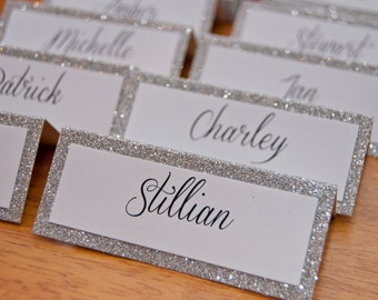 10x Personalised Glitter Sparkle Table Names.