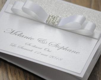 Pearl Silver Glitter Bow Wedding Invitation