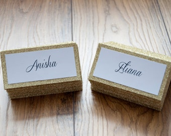 10x Personalised Glitter Gold Sparkle Table Names.