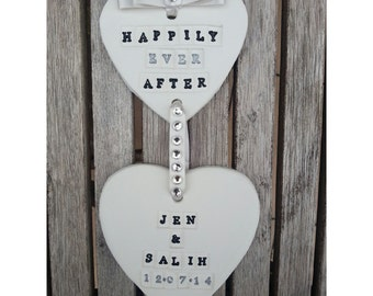 Personalised Double Clay Heart Wedding Gift with Bow