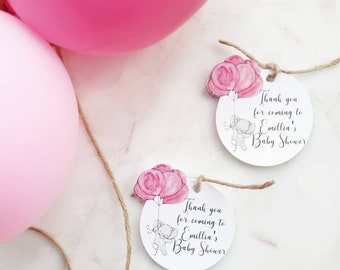 10x Elephant balloon Baby Shower Thank You Tags /Gift Tags / Favour tags