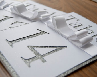 Silver Glitter Cut Out Table Number