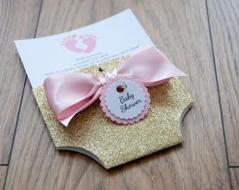 Glitter Baby Shower Nappy/Diaper Invitation