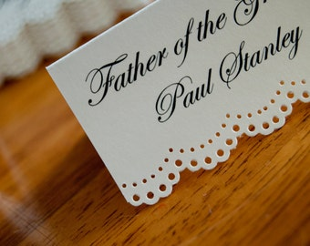 10x Personalised White Dolly Name Cards/ Place Settings/ Table Names