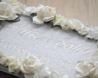 Ivory Floral Glitter Cut Out Guestbook