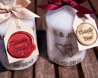 Personalised  Engraved Candles with Thank You Tags Wedding Favours
