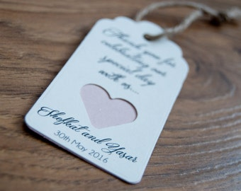 10x Personalised Double Tag Heart Favour Hen Party/Bachelorette/Wedding/Gift Tags