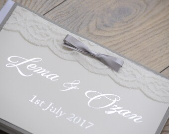 Grey Silver Foil Guestbook